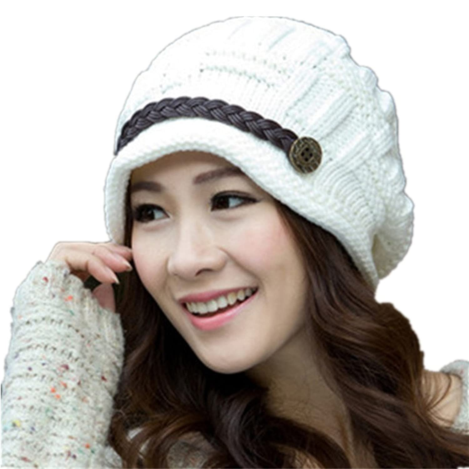 Women Knitted Winter Warm Caps Beanie Ski Hats Crochet Knitted Hat Baggy Slouchy Beret