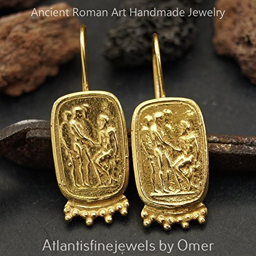 925 Sterling Silver Sun Collection Roman Art Coin Earrings 24 k Gold Plated (Roman Coin Earrings)