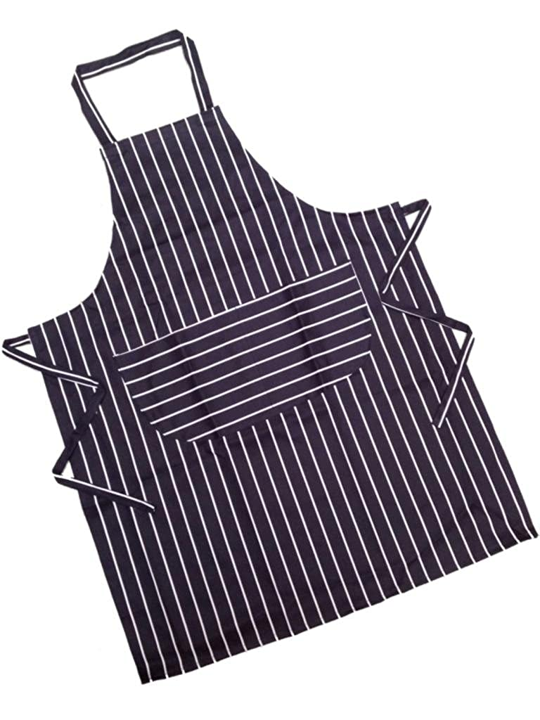 Adult Traditional Striped Butchers Apron with Double Front Pocket *One in RED/BLACK / NAVY/BURGUNDY