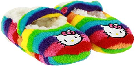9532ece9d Image Unavailable. Image not available for. Colour: Hello Kitty Fuzzy  Rainbow Stripe Girls Slipper Socks ...
