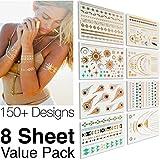 #1 Best Metallic Temporary Tattoos ● 150+ Designs - 8 Sheet Pack ● Gold Silver Temporary Tattoos ● High Gloss Shimmer Effect