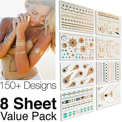 metallic-temporary-tattoos-flash-tattoos-8-sheets-150-designs-temp-tattoos