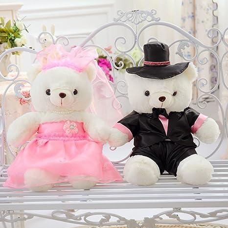 f6b3dfe6f7 Amazon.com: YXCSELL Bride and Groom Couple Cute Soft Plush Stuffed Animals  Small Teddy Bear White Plush Fur Pink Wedding Gown and Black Tuxedo 16