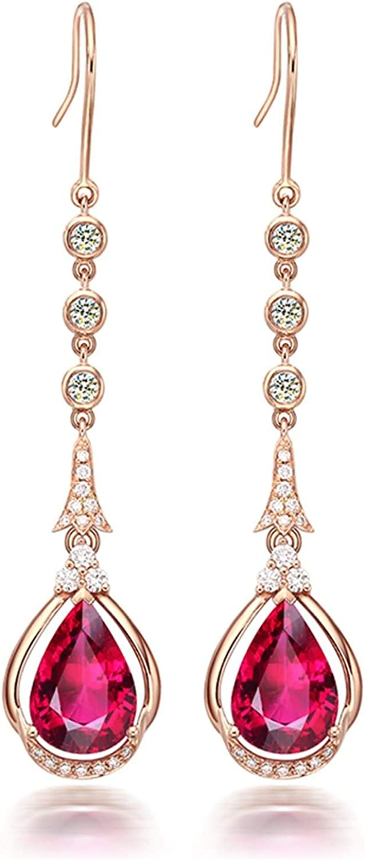 ANAZOZ 18K Oro Rosa Pendientes Mujer Oro Rosa Pendientes Mujer Gota de Agua Larga Turmalina Roja Blanca 3.3ct