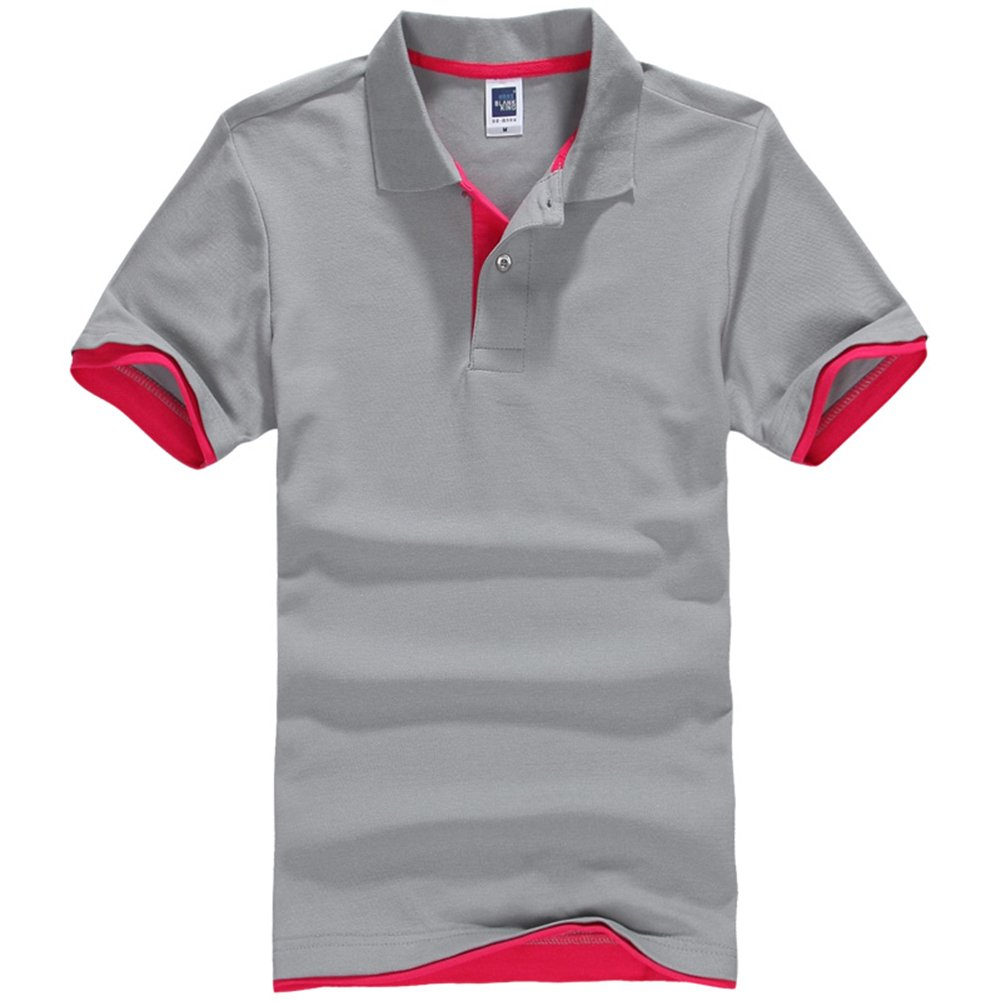 NEWCOSPLAY Men's Short-Sleeve Double Color Collars Polo Shirt