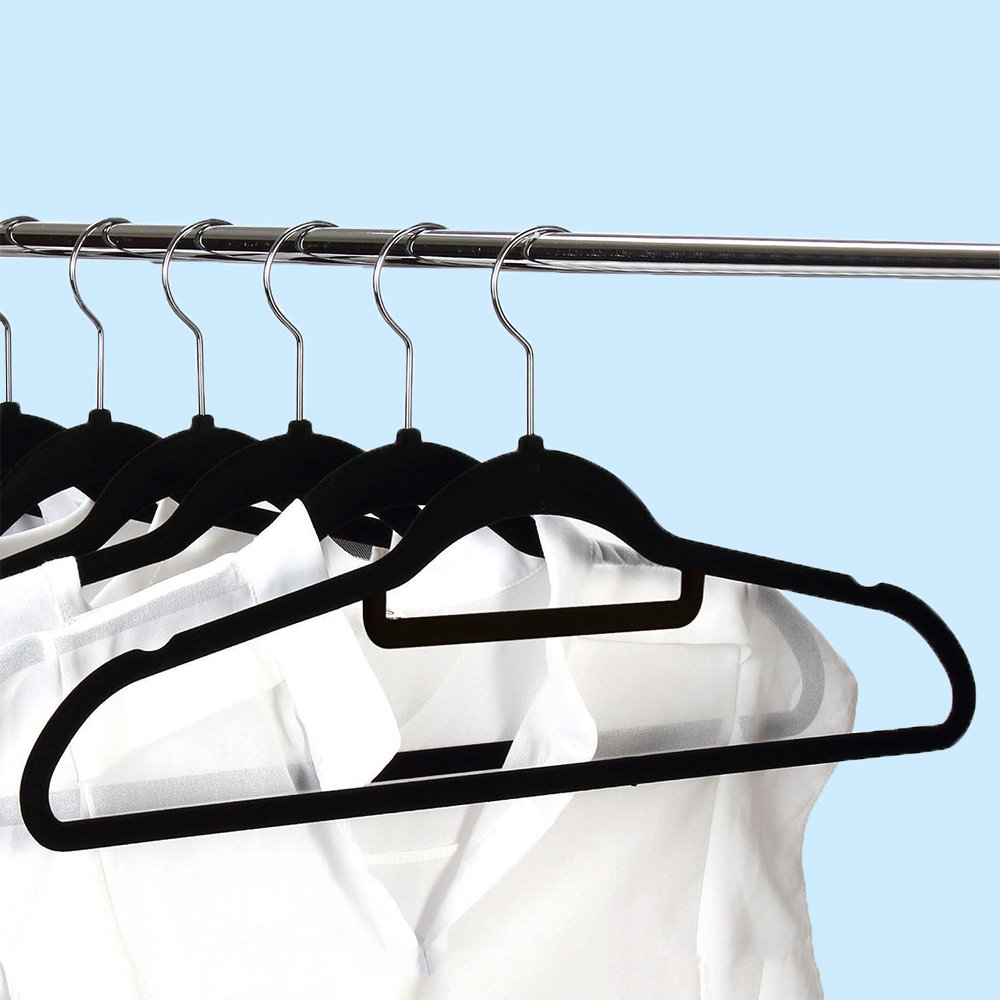 EnjoyPark 50 X Quality Velvet Hangers Non Slip Clothes Hangers Coat Rack Dress hanger,Black