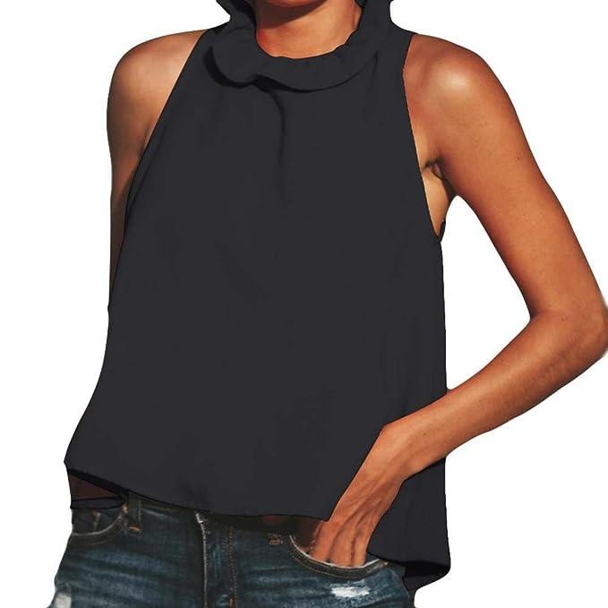 Mujeres Tops Rovinci Bow Ruffles Sólido Casual Camisetas Mujer Basicas Blusa Suelta sin Mangas Casual Mujer