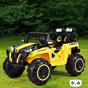 BESTGOODSHOP 12V Kids Riding Racing Remote Control Truck with LED Light I 4 Wheeler for Kids I Power Wheels Jeep I 12V Ride On Toys I Kids 4 Wheeler I Power Wheels 12 Volt I