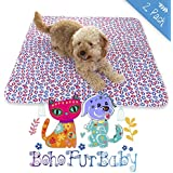 BOHO FUR BABY 2 Pack Designer Quilted Pads for Your Best Friend - THICK Waterproof Reusable and Washable Pet, Puppy and Dog Training Travel Pee Pads - Size LARGE 31 x 35
