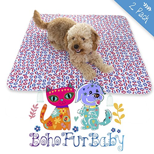 BOHO FUR BABY 2 Pack Designer Quilted Pads for Your Best Friend - THICK Waterproof Reusable and Washable Pet, Puppy and Dog Training Travel Pee Pads - Size LARGE 31 x 35 - Colored Pet Crate Pad