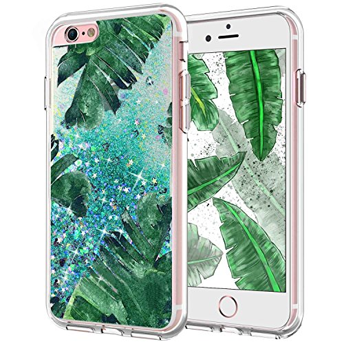 iPhone 6S Case for Women,iPhone 6 Liquid Case,i-Dawn Ultra Slim Clear Flexible TPU Glitter Liquid Case Sparkle Flowing Bling Quicksand Protective Case Cover for Apple iPhone 6/6S (Banana Leaf Green)