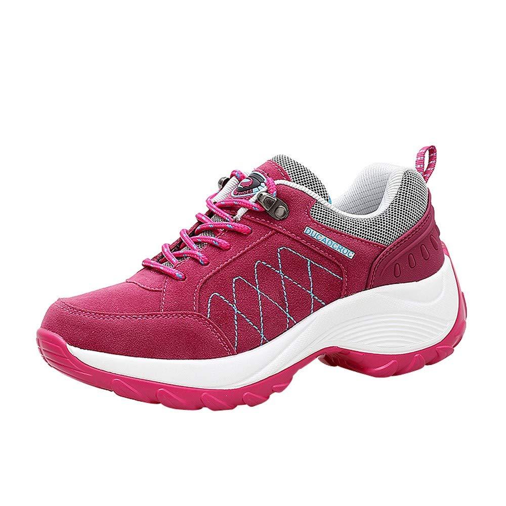 Zapatos mujer senderismo deportes de todas las estaciones, Sonnena zapatos de mujer de moda Zapatillas de plataforma deportivas de cuero sin tapa de Nubuck