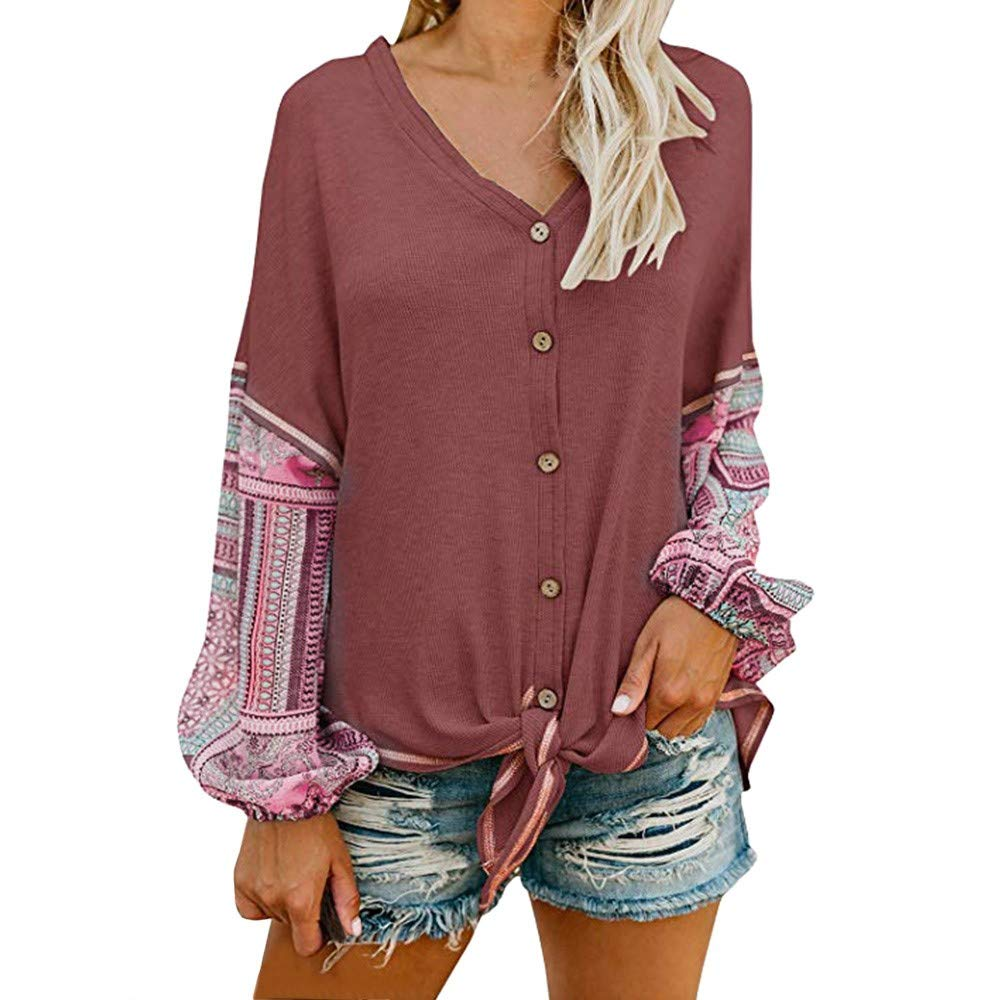 WuyiMC Clearance Womens V Neck Button Down Tie Knot Front Henley Shirt Patchwork Cardigan Blouse (L, Wine Red) by WuyiMC