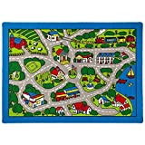 Kids / Baby Room / Daycare / Classroom / Playroom Area Rug. Roads. Town. City. Race Car Tracks. Educational. Fun. Non-Slip Gel Back. Bright Colorful Vibrant Colors (8 Feet X 10 Feet)