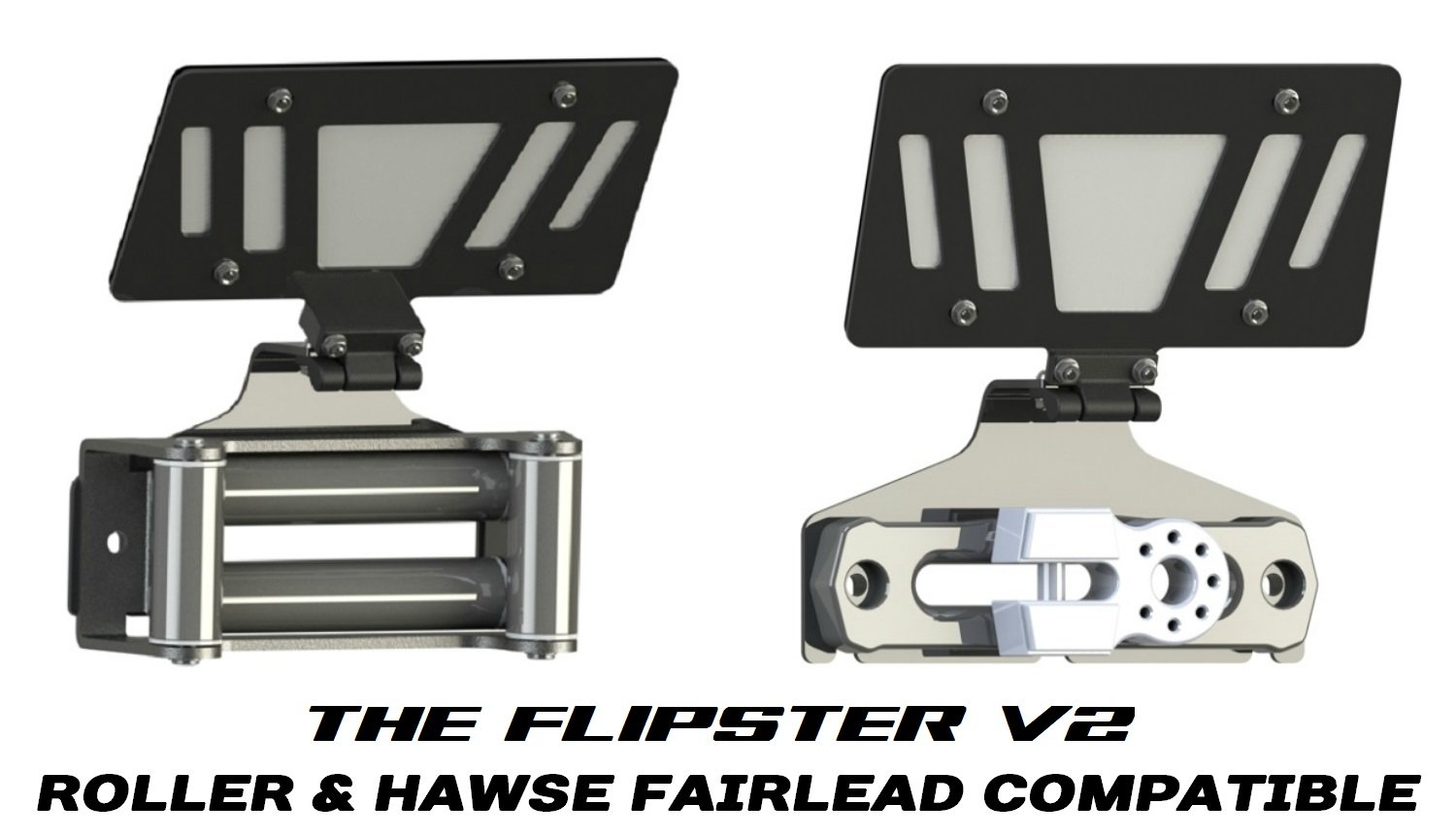 Hawse//Roller fairlead compatible Made in USA//Canada 100001A Cascadia 4x4 Flipster V2 Winch License Plate Mounting system