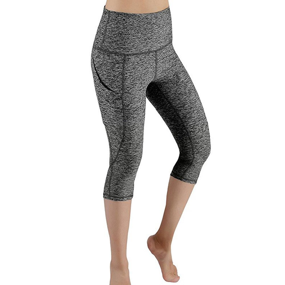 2019 New Women's Yoga Pants Workout Out Pocket Leggings Fitness Athletic Sports Gym Running Yoga Sleep Legs Shaper Pants (Gray, L)