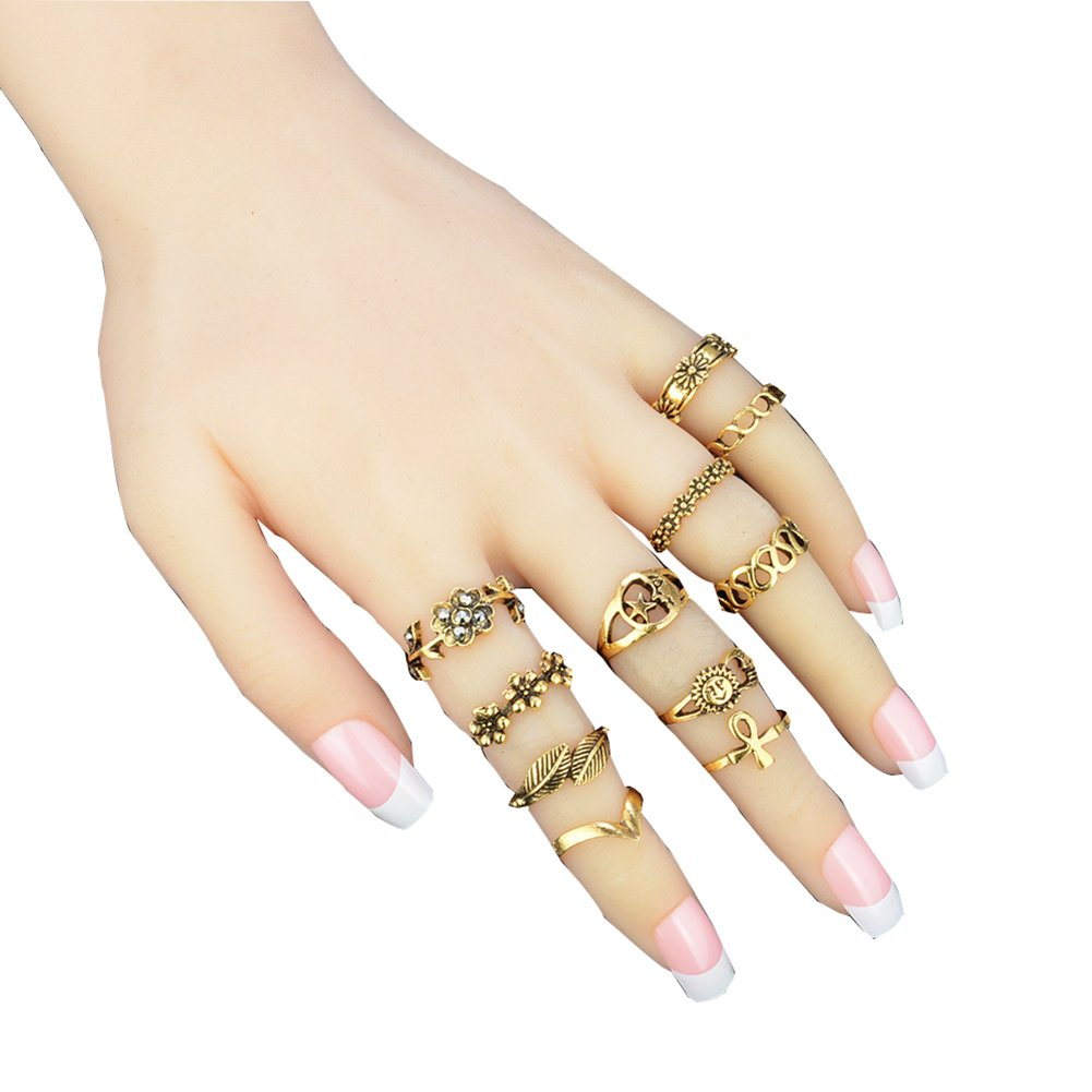 11PCS Vintage Knuckle Ring Set Sun Moon Elephant Fatima Bohemian Stack Rings Above Knuckle Rings Silver