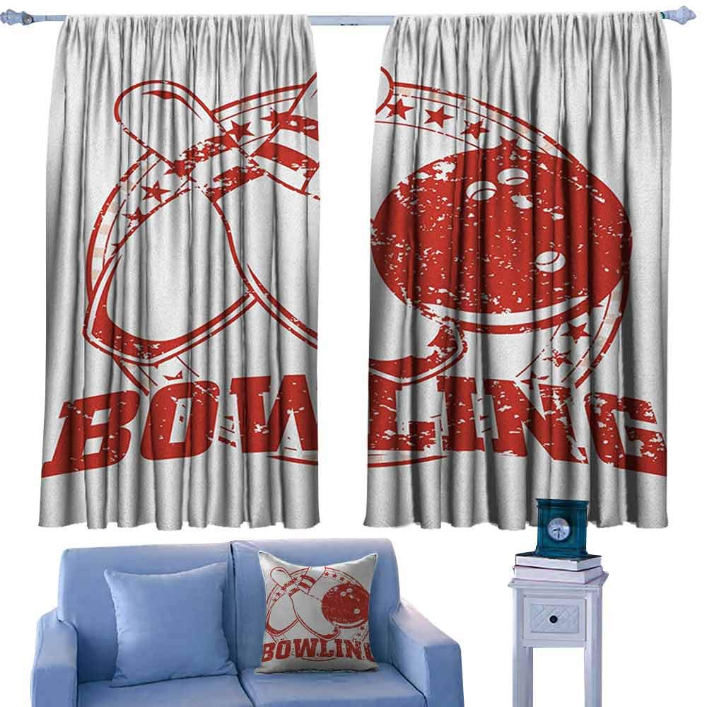ParadiseDecor Bowling Party Rod Curtains Grunge Circle of Stars with Vintage Distressed Emblem Design Typography,Backout Curtains for Kids Iving Room,W72 x L63 Inch by ParadiseDecor