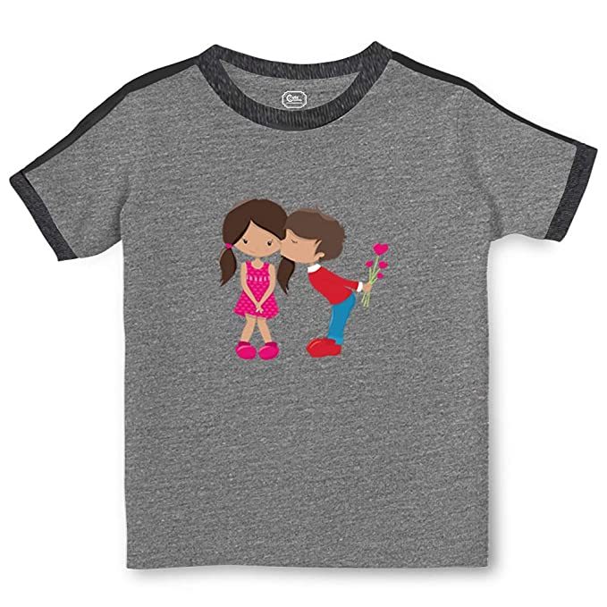 83ca0faba First Valentine Girl Kiss S Short Sleeve Crewneck Boys-Girls Toddler Cotton  Soccer T-