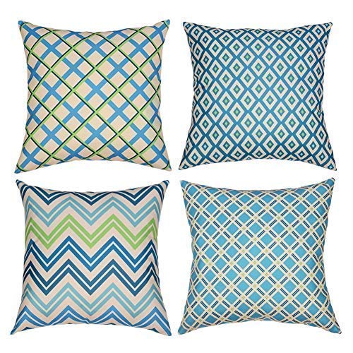 Tedars Decorative Throw Pillow Covers, Pillow Covers 18x18 Inch Set of 4 Modern Simple Geometric Style Soft Burlap Cotton Linen Square Pillow Cases for Couch, Sofa or Bed. (Geometric Style 1)