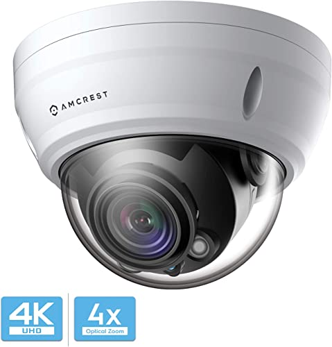 Amcrest UltraHD 4K Varifocal PoE Dome Outdoor Security Camera, 4K 8-Megapixel 3840x2160P, 164ft Night Vision, 4X Optical Zoom, Motorized Varifocal Lens 58 -110 , White IP8M-2454EW