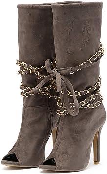 Bottines Femme, Xinantime Zipper Femme Bottes de Poisson Au dessus du Genou Bottes à talons Shoes Automne Hiver