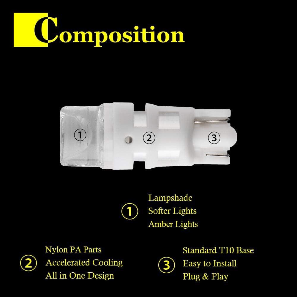Qasim 10x LED T10 W5W Ampoules 194 Ambre 2835 3SMD Wedge 168 pour Lumi/ère de D/ôme la Carte /Éclairage de la Plaque dImmatriculation Lentille Transparente DC12V
