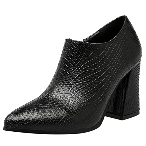 RAZAMAZA Mujer Moda Botines Tacon Ancho Tobillo Zapatos: Amazon.es: Zapatos y complementos