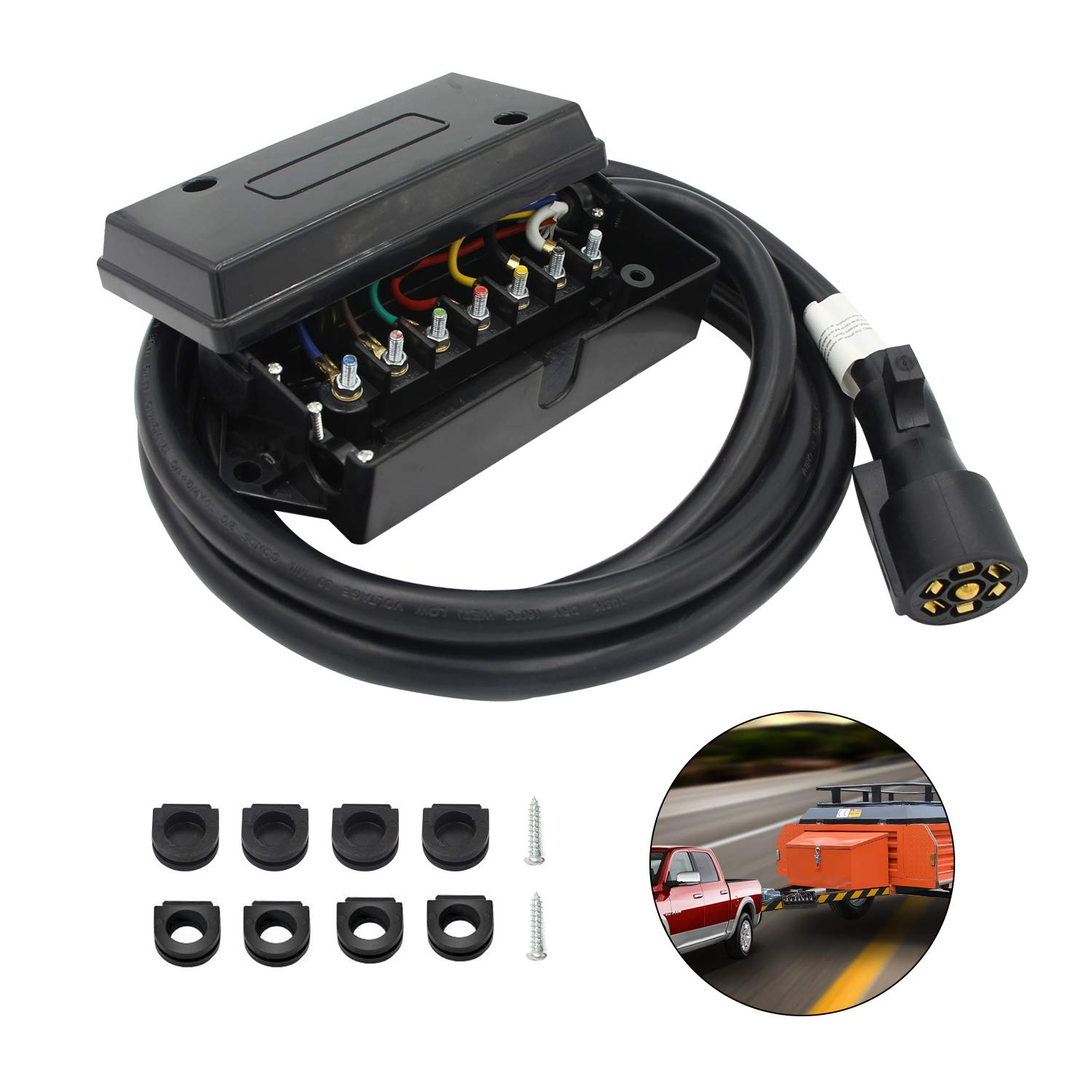 ... 7 Way Trailer Cord with 7 Gang Junction Box - 8 Feet Harness Inline  Molded Wire ...