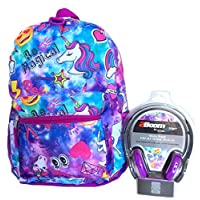Unicorn Emoji Galaxy All Over Print Backpack with Head Phones
