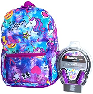 Unicorn Emoji Galaxy All Over Print Backpack with Head Phones