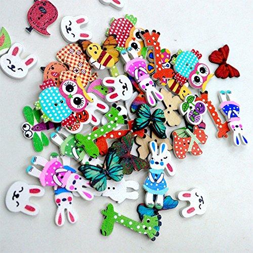 Msyou 50/pcs 2/trous mixtes en bak/élite Boutons r/étro en forme de dessin anim/é en boutons faite /à la main Boutons pour le tricot Couture Scrapbooking DIY Craft