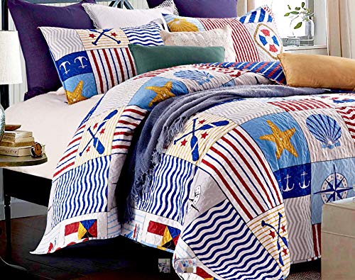 Compass Quilt - Nautical Marine Anchors Compasses Starfish Blue White Red Quilt & SHAM Set (3pc Full/Queen Size)