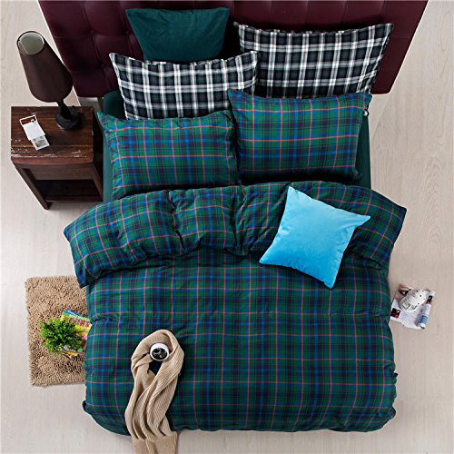 (Deep Sleep Home 300 Thread Count Percale 100% Advanced Cotton Flannel Material Christmas Green Plaid Pattern 4pc Duvet Cover Set Full/Queen Size (Full, Green-ED))