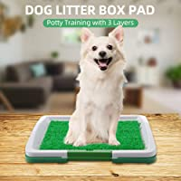 Dog Litter Box,Dog Litter Box Pad Potty Training Synthetic Grass Mesh Tray 3 Layer Pet Toilet for Dogs Indoor Outdoor…