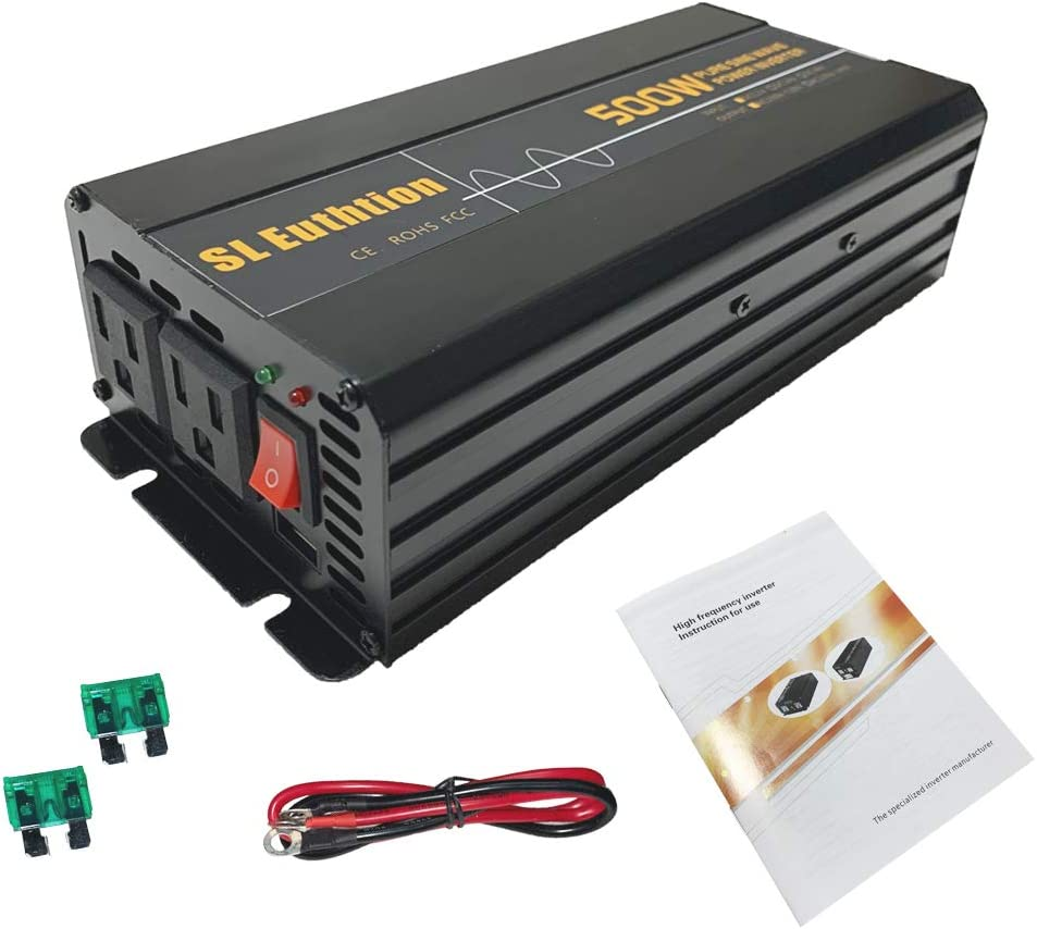 Used in Cars USB Port Solar SL Euthtion 1000W Pure Sine Wave Power Inverter 12V DC to 120V AC 60HZ with LCD Display Outdoor