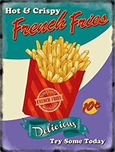 Vintage Style French Fries Chips 50's Diner Home Wall Decor Metal Tin Sign 12x8inch for Home Kitchen Bar Club Pub Restaurant