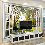 LHDLily 3D Wallpaper Mural Wall Sticker Thickening Custom Photo Fondo De Pantalla Outside The Window Landscape Trees Small Rivers Deer Pigeons Dreams Tv Walls 300cmX200cm