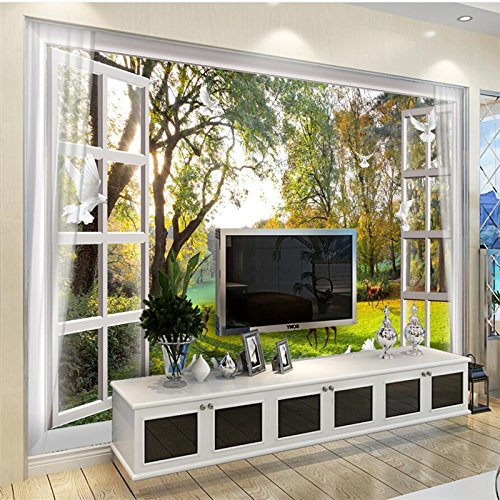 LHDLily 3D Wallpaper Mural Wall Sticker Thickening Custom Photo Fondo De Pantalla Outside The Window Landscape Trees Small Rivers Deer Pigeons Dreams Tv Walls 300cmX200cm by LHDLily