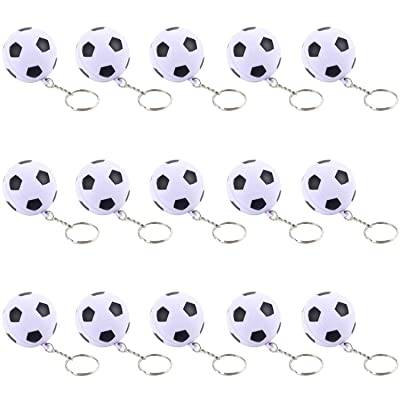 iMagitek 15 Pack Soccer Keychains for Kids Party Favors Supplies, School Carnival Prizes, Party Bag Gift Fillers, Soccer Ball Stress Relieve Ball: Toys & Games