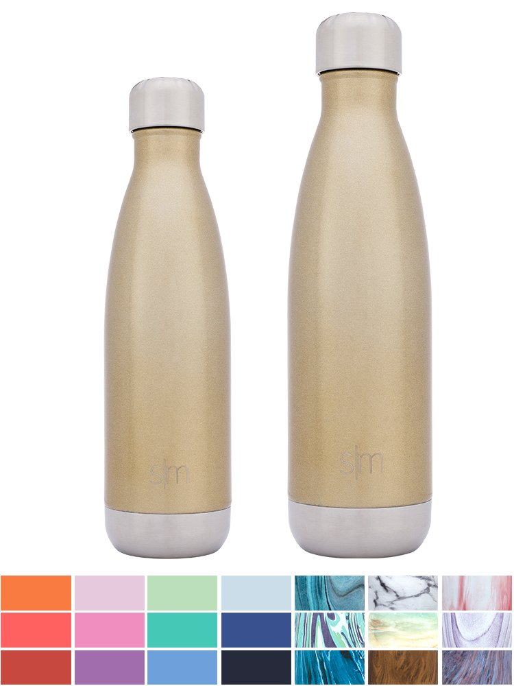 Simple Modern Stainless Steel Vacuum Insulated Double-Walled Wave Bottle, 25oz - Glimmering Gold - Shimmering Collection by Simple Modern