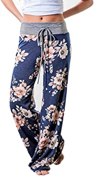 OTTATAT Women's Comfy Stretch Floral Print High Waist Drawstring Palazzo Wide Leg Pants Pajama Sleep Yoga Casual Pants