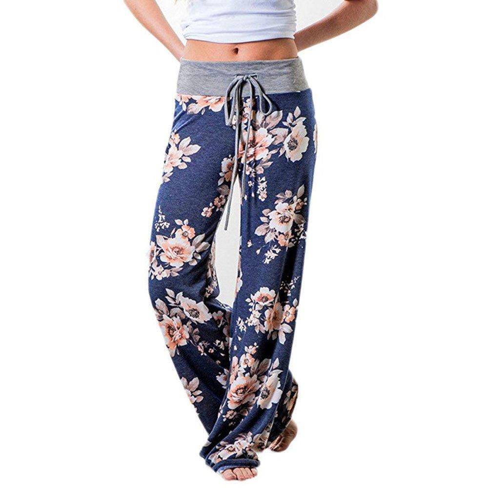UONQD Women Floral Prints Drawstring Wide Leg Pants Leggings (Large,Blue)