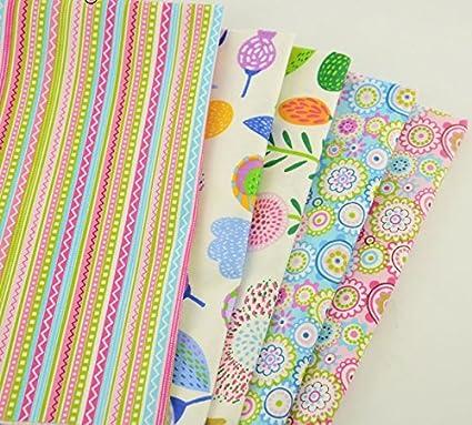 5 Telas flores retros de 40 X 50 cm para manualidades, costura, scrapbooking,