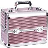 Joligrace Makeup Case Organizer Large Travel Cosmetic Storage Make Up Artist Box Lockable - Pink