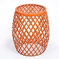 Joveco Stylish Metal Drum Wire Round End Table Side Table Sofa Table (Orange)