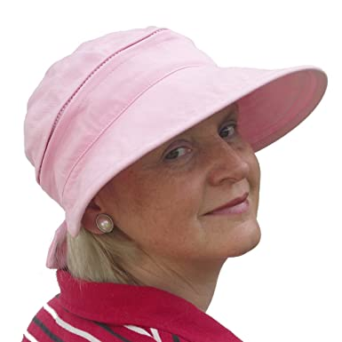 f7f60a6226669 Ladies Wide Brim 2in1 Combined Golf and Tennis Sun Cap and Visor (Soft  Pink)  Amazon.co.uk  Clothing