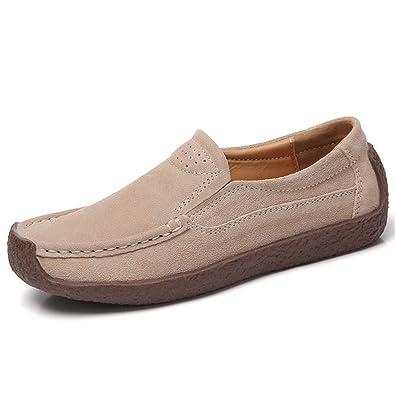 Mujeres Mocasines Pisos Zapatos de Gamuza Primavera Otoño Punta Redonda Vaca Gamuza Pigskin Slip On Señoras Mocasines Calzado Informal: Amazon.es: Zapatos y ...