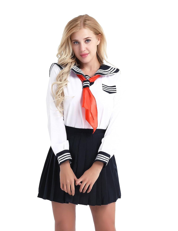 YiZYiF Disfraz de Colegiala Uniforme Escuela para Mujer Chica Conjunto  Cosplay Traje de Marinero de Manga Larga+Mini Falda  Amazon.es  Ropa y  accesorios ee71e45f66fe
