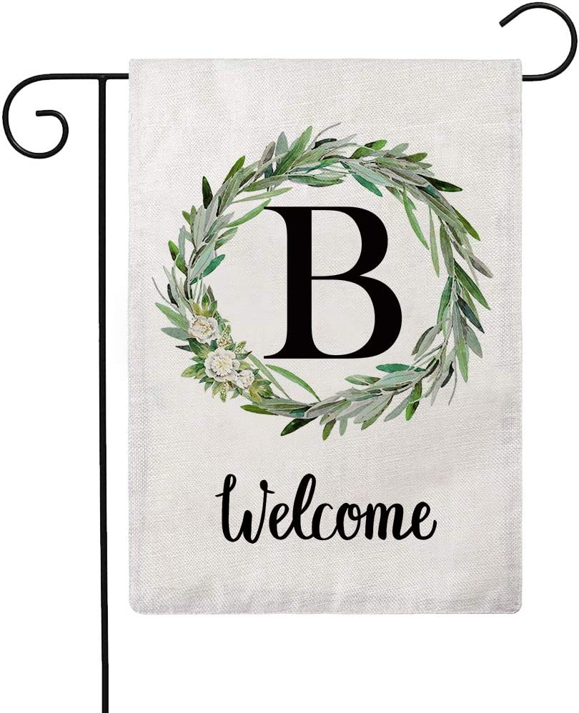 ULOVE LOVE YOURSELF Welcome Decorative Garden Flags with Letter B/Olive Wreath Double Sided House Yard Patio Outdoor Garden Flags Small Garden Flag 12.5×18 Inch